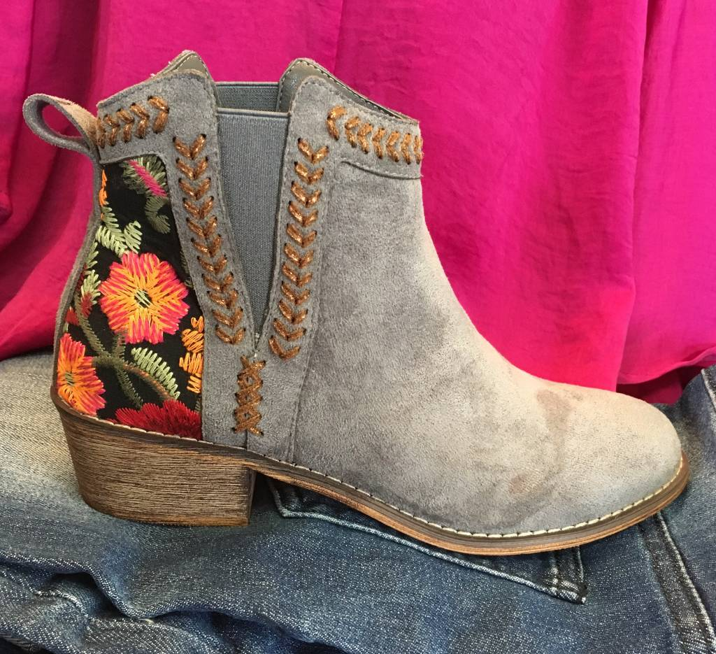 Grey Short Embroidered Bootie
