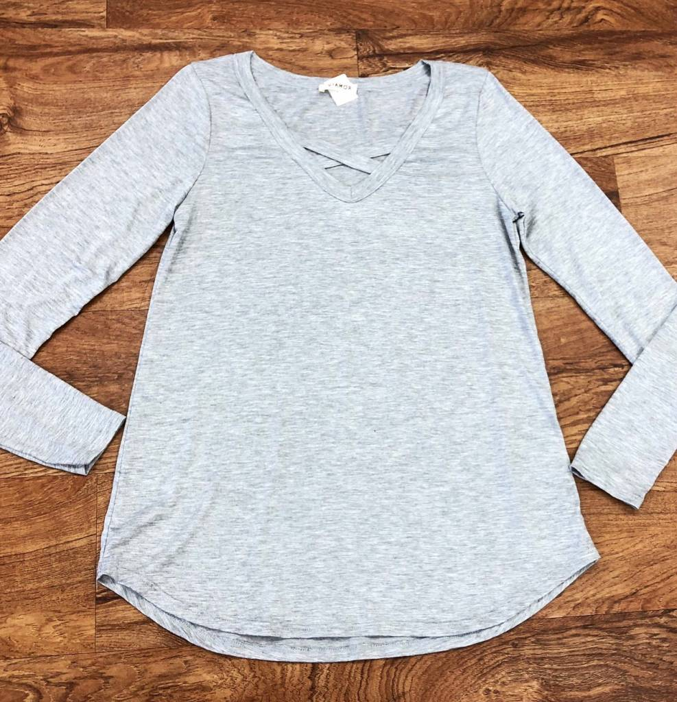 Heather Grey CrissCross LS Top