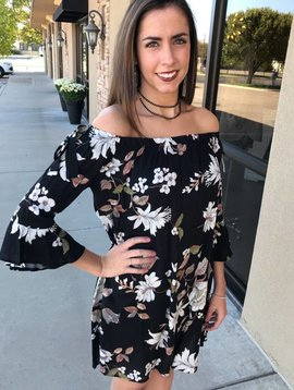 Black Floral Off Shoulder Dress-SALE ITEM