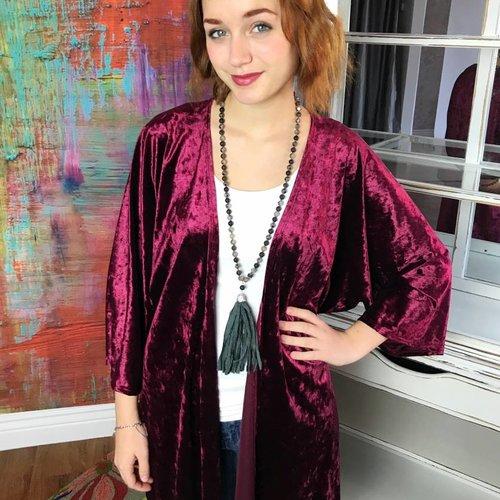 Burgundy Crushed Velvet Kimono