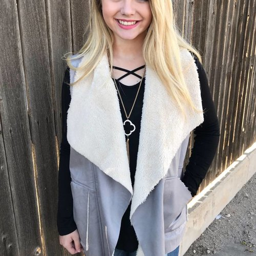 Grey Solid Faux Leather Vest