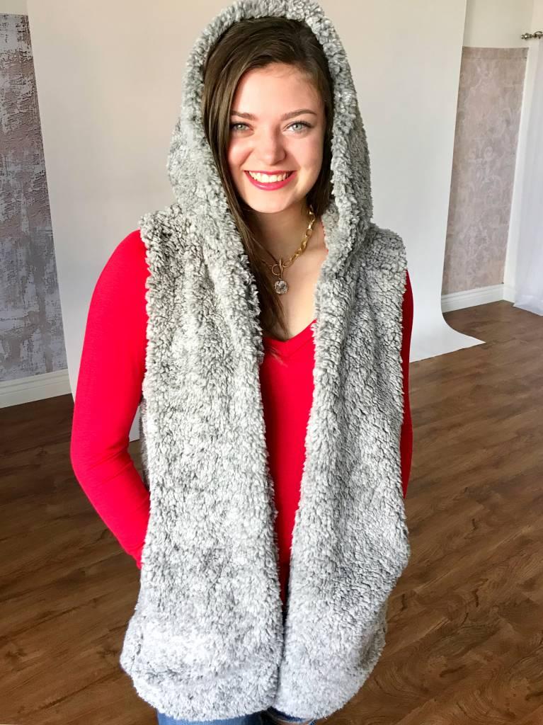 Grey Speckled Faux Fur Vest
