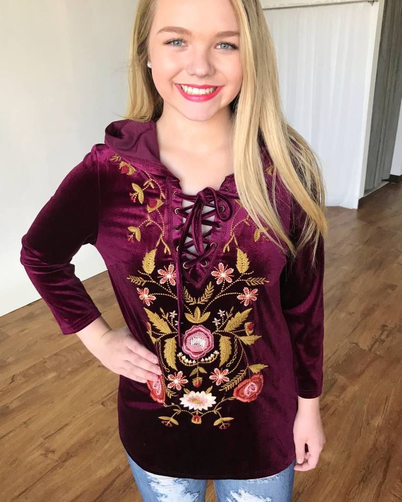 Burgundy Lace-Up Embroidered Hoodie Top- SALE ITEM