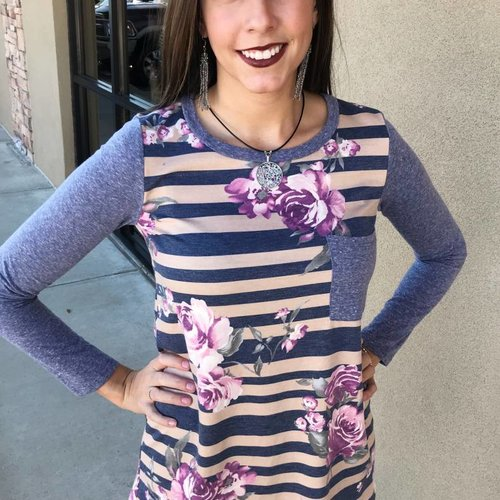 Denim Striped Top with Floral Accent- SALE ITEM