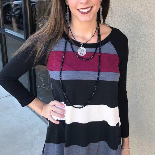 Burgundy/Black LS Color Block Stripe Tunic Top