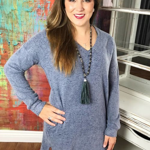 Faded Navy Soft V-Neck Sweater Top