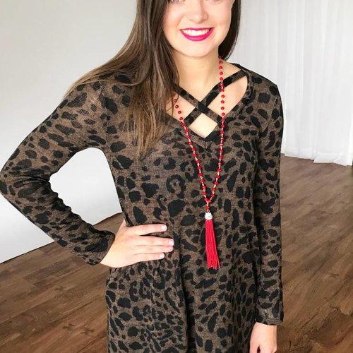 Brown Leopard Criss Cross Top