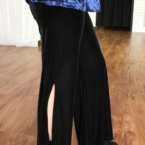 Black Velvet Slit Loose Pants