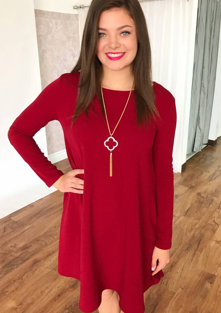 Burgundy LS Dress with Elbow Patch