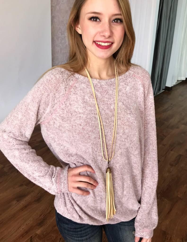 Burgundy LS Sweater Top