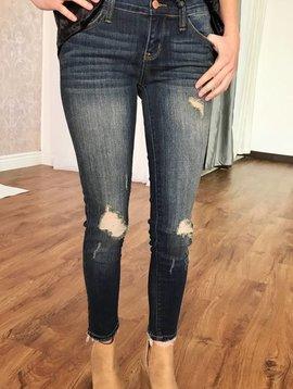 Judy Blue Dark Wash Cropped Ankle Fray Skinny Jean