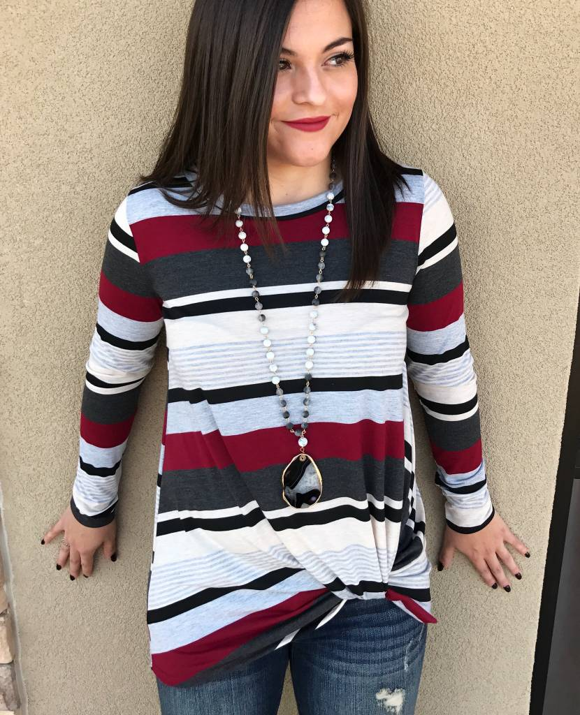 Burgundy Striped LS Knotted Top