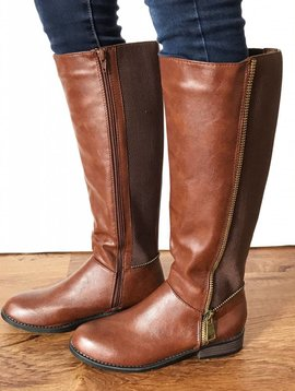 Cognac Riding Boot with Stretchy Back