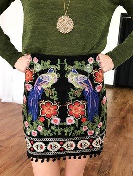 Black Embroidered Short Skirt with Pom Pom Edge