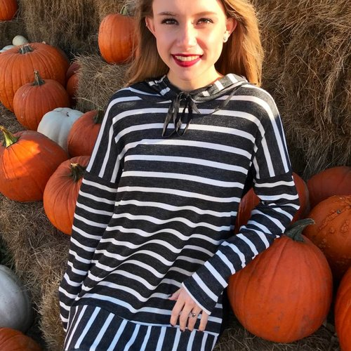 Black / White Striped Hoodie Top with Black Back