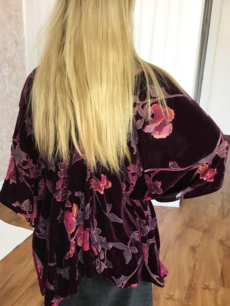 Wine Floral Velvet Short Kimono