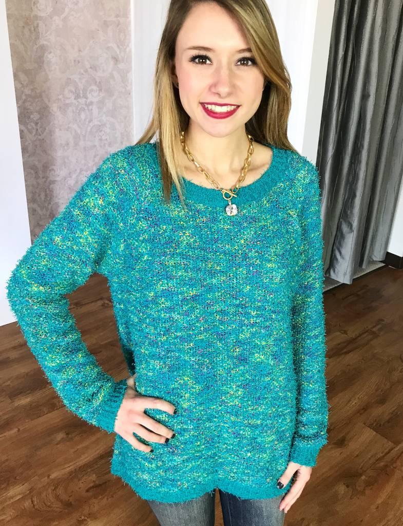 Mint Mix Fuzzy Knit Sweater Top