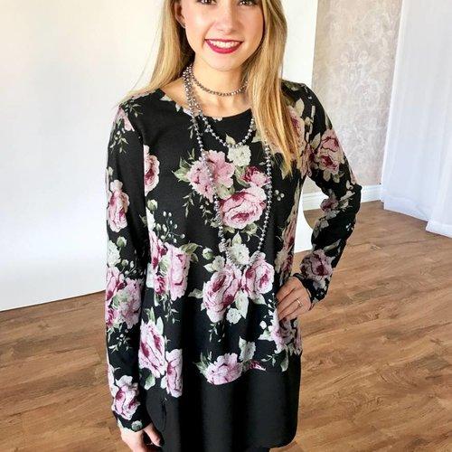 Black Floral Top with Solid Hem