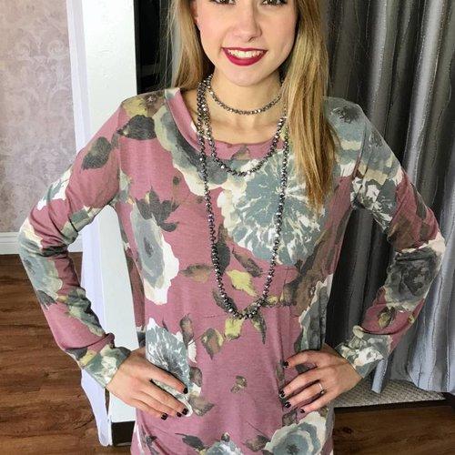 Mauve Floral Soft Sweater Top