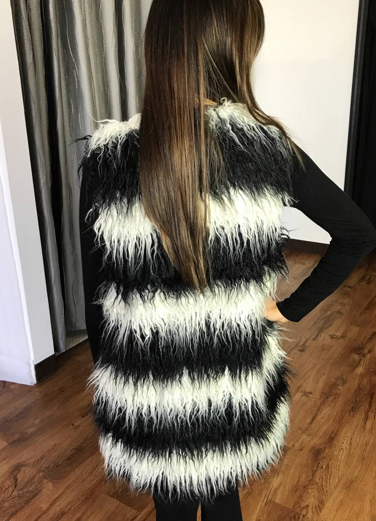 Black and White Faux Fur Vest