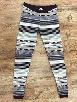 Burgundy / Oatmeal Multi-Striped Sweater Knit Leggings