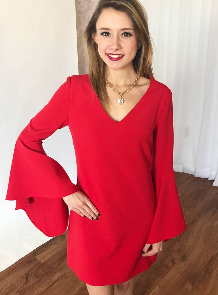 Red Bell Sleeve V-Neck Tunic