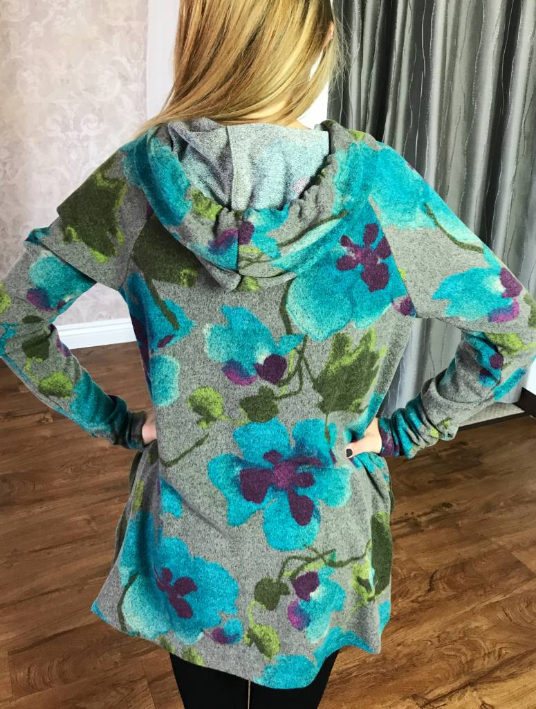 Grey / Blue Floral Sweater Knit Hoodie Top