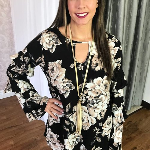 Black Floral Bell Sleeve Top with Keyhole