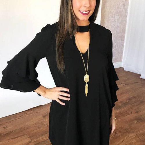 Black Textured Frill Keyhole Dress