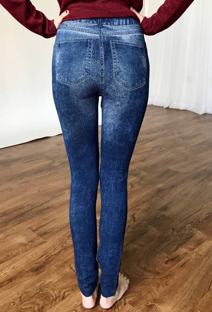 Faux Skinny Jean Leggings Embroidered Rose