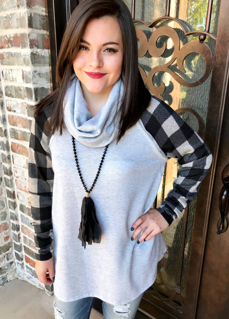 Heather Grey Cowl Neck Tunic with Checkered Sleeve