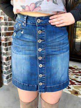 Denim Cross Stitch Button Up Skirt
