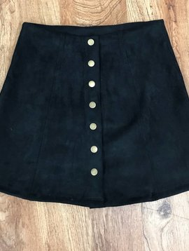Solid Black Button Up Skirt