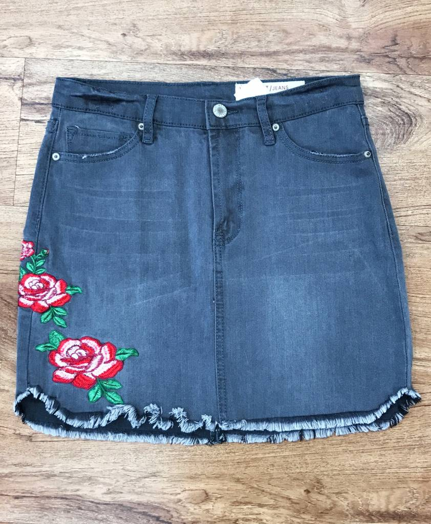 Grey Denim Distressed Skirt with Embroidery