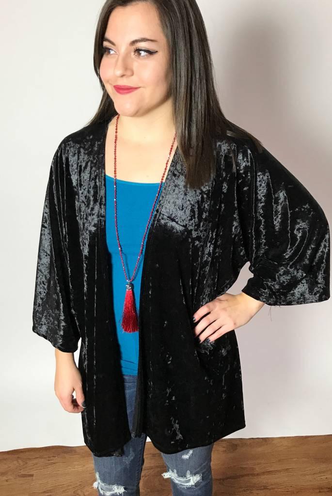 Black Velvet Open Front Kimono