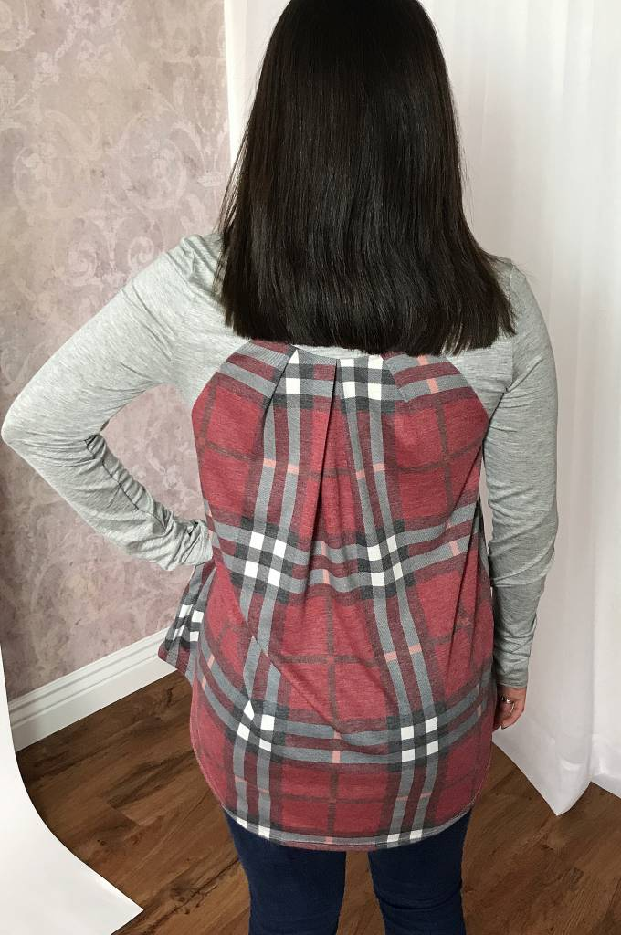 Grey LS Top with Red Plaid Back Accent