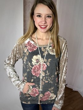 Charcoal Crew Neck Sweater Floral Top