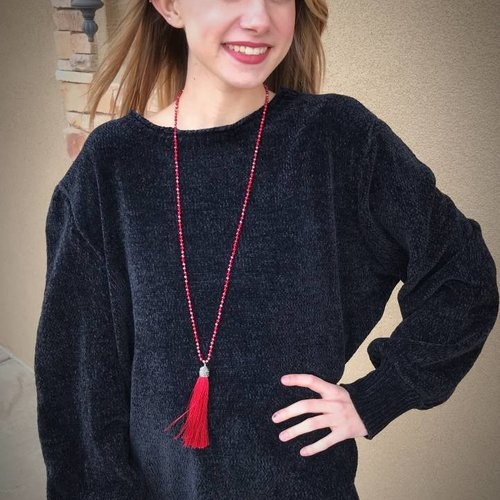Black Sweater Top Hoop Neck
