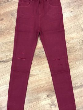 Burgundy Minor Distressed Skinny Jeans