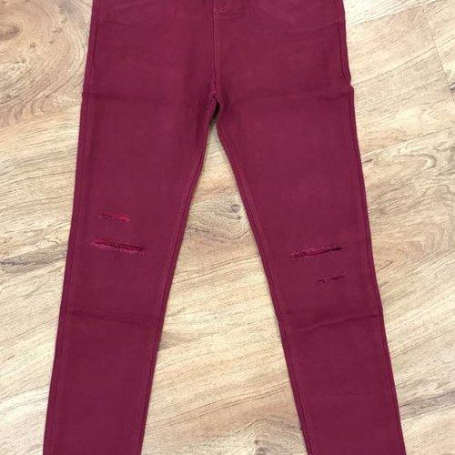 Burgundy Minor Distressed Skinny Jeans
