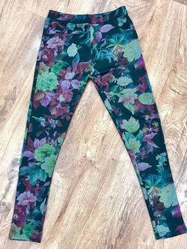 Black Tropical Floral Soft Jeggings