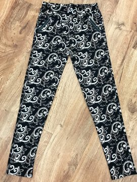 Black with Mocha Paisley Zip-Pocket Soft Leggings