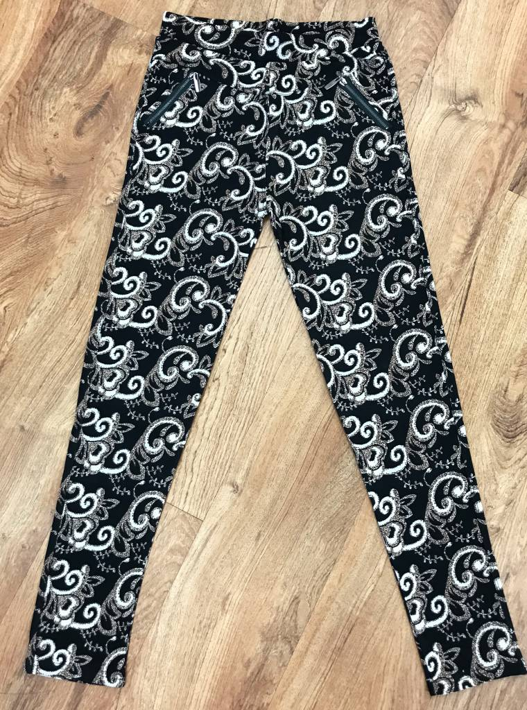 Black with Mocha Paisley Zip-Pocket Soft Leggings-FINAL SALE