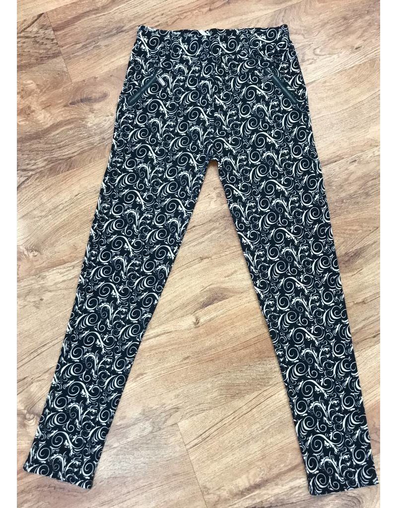 Black with Cocoa Paisley Zip-Pocket Soft Leggings
