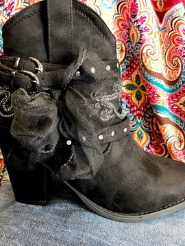 Black Suede Bootie with Bow and Buckles