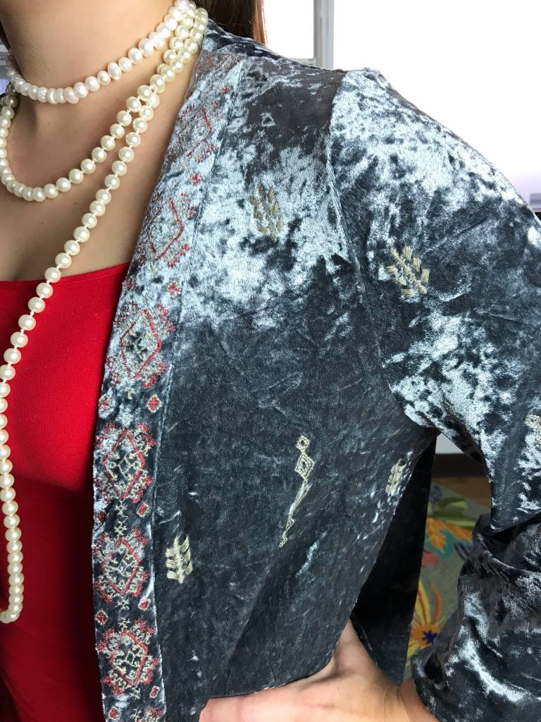 Blue Grey Embroidered Detail Velvet Kimono with Tassels
