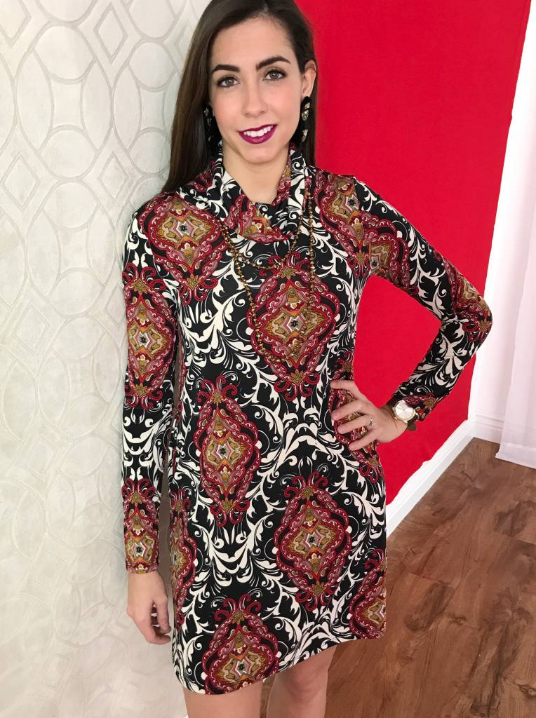 Burgundy Paisley LS Cowl Neck Dress