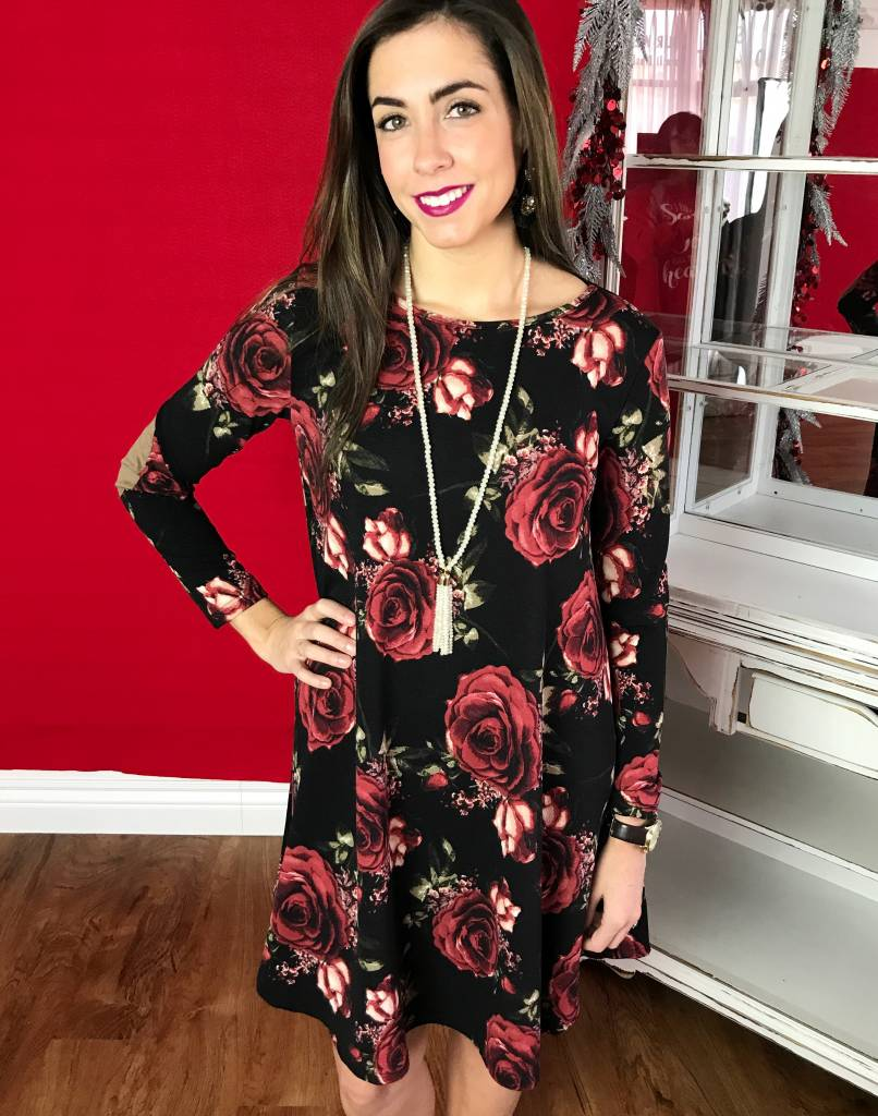 Black Floral Swing Dress with Suede Elbow Patch