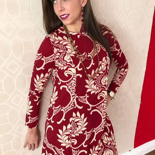 Burgundy Damask Swing Sweater Dress