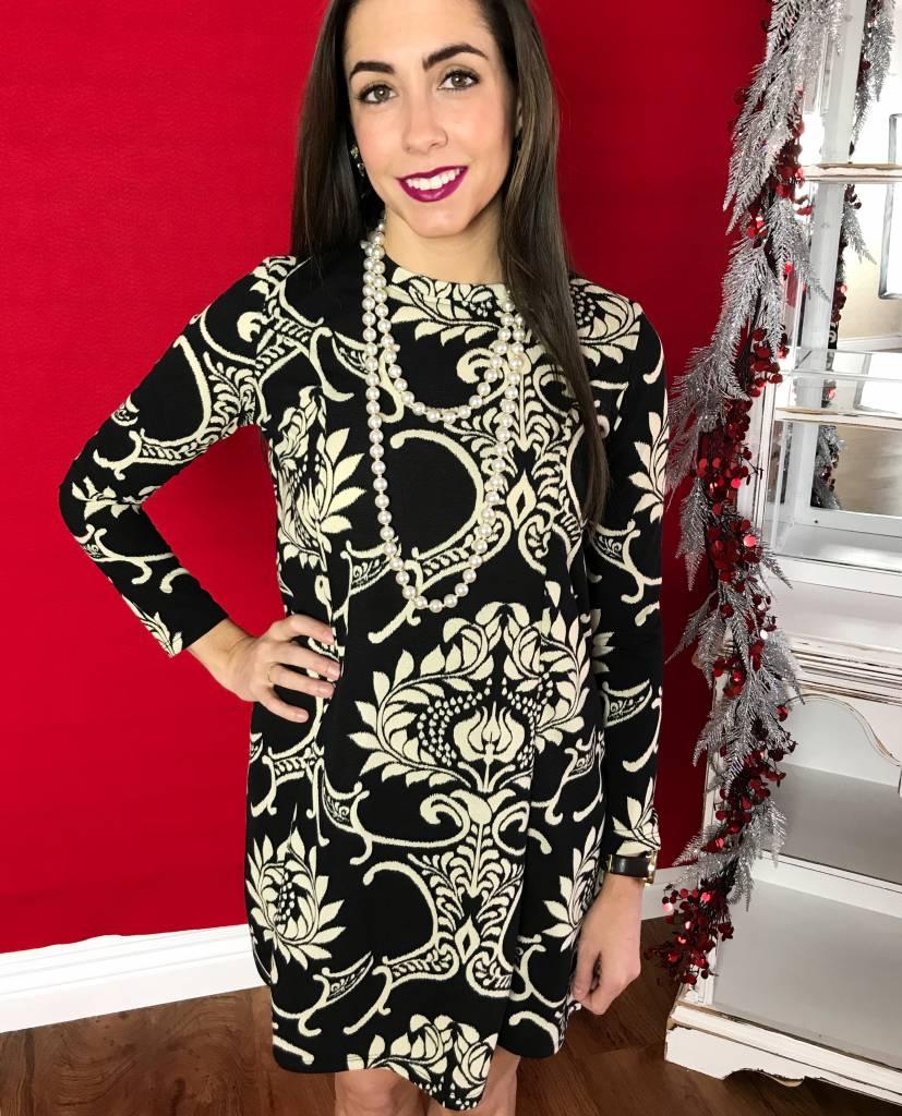 Black Damask Swing Sweater Dress
